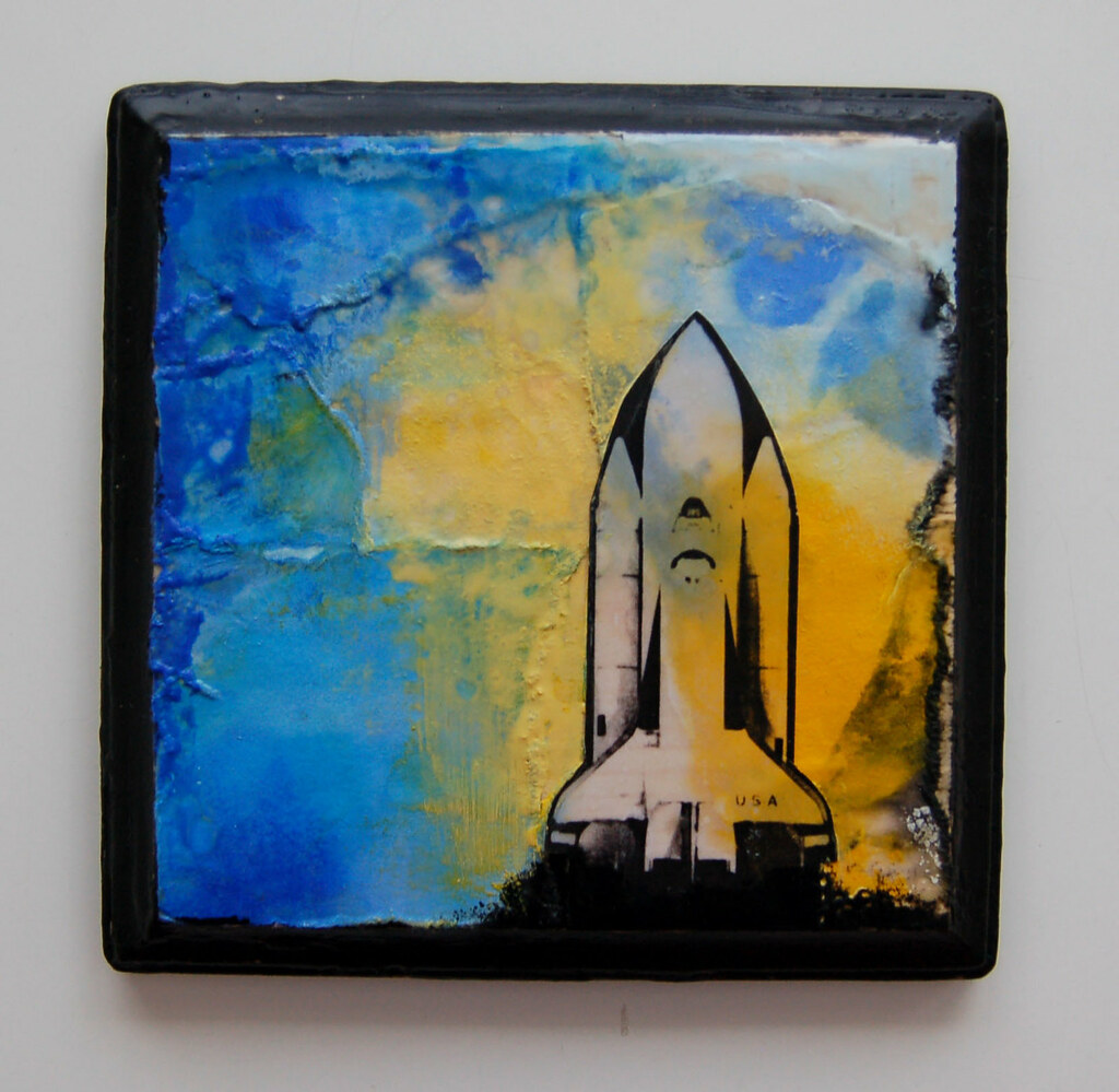 Encaustic Wax Painting  'Rocket Before Launch'