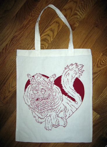 Valentine cat tote bag by Jon Vermilyea