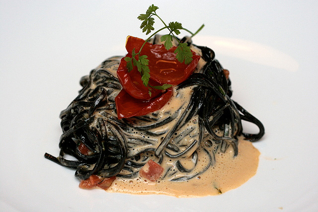 Homemade Squid Ink Taglionlini with Sea Urchin Sabayon and Semi Dried Cherry Tomatoes