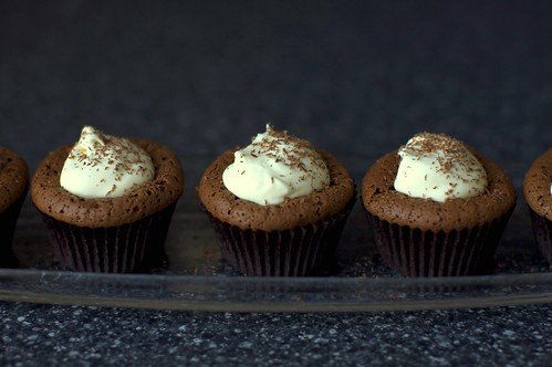 Chocolate Souffle Cupcakes With Mint Cream