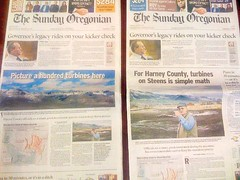 The Oregonian on the left is the early version that went out on Saturday and was the edition most Harney County residents received. The photo of the high Steens with the words �Picture a hundred turbines here� is actually inaccurate because the proposed wind projects will be in another location. No turbines would be visible in the picture. The paper on the right is the revised Sunday version that was distributed on the left side of the state. The Oregonian changed the paper after receiving complaints. (Submitted photo)