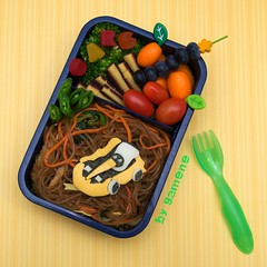 go kart bento (gamene) Tags: tomatoes broccoli bento gokart blueberries snowpeas kumquats japchae sodi purplecarrot gamene