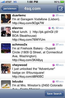 tweetieとFoursquareの連携