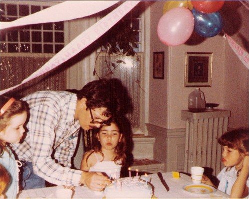 another of my sister's birthdays with my dad lighting candles