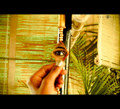 Look through my eyes! (abhiomkar) Tags: india color green eye colors look mirror eyes bangalore decoration explore looks frontpage koramangala museuminn
