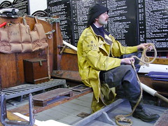 Robert And Ellen Robson lifeboat (Nekoglyph) Tags: mannequin yellow museum wooden yorkshire exhibit rubber historic deck lifeboat whitby cox rowing dummy wellies lifejacket waders waterproof rnli coxswain rowlock barcheboats sowester robertandellenrobson