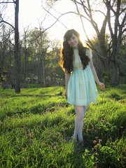 a southern easter (bloomingleopold) Tags: sunset yellow wardroberemix vintage easter outdoors spring outfit woods dress tennessee girly feminine pastel bow romantic easterdress mintgreen smocking laceups whitetights bloomingleopold cutoutheels