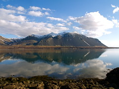Beautiful reflection (Sunna Gautadttir) Tags: ocean sea sky mountain mountains reflection nature water beautiful rock clouds iceland spring bluesky reflectioninwater opposti abigfave mirrorser