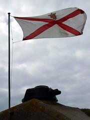 Jersey flag over German Turret