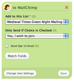 Mail Chimp Opt-In Options