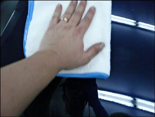 Microfiber car wax removal