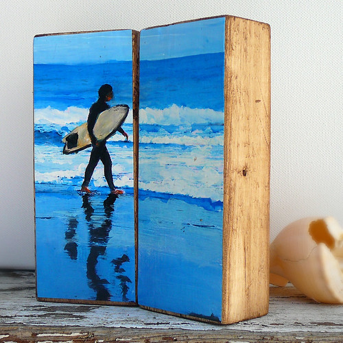 Surfer Natural Wood Art Block