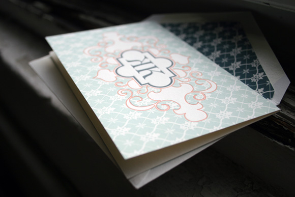 Letterpress Social Notes with Lined Envelope