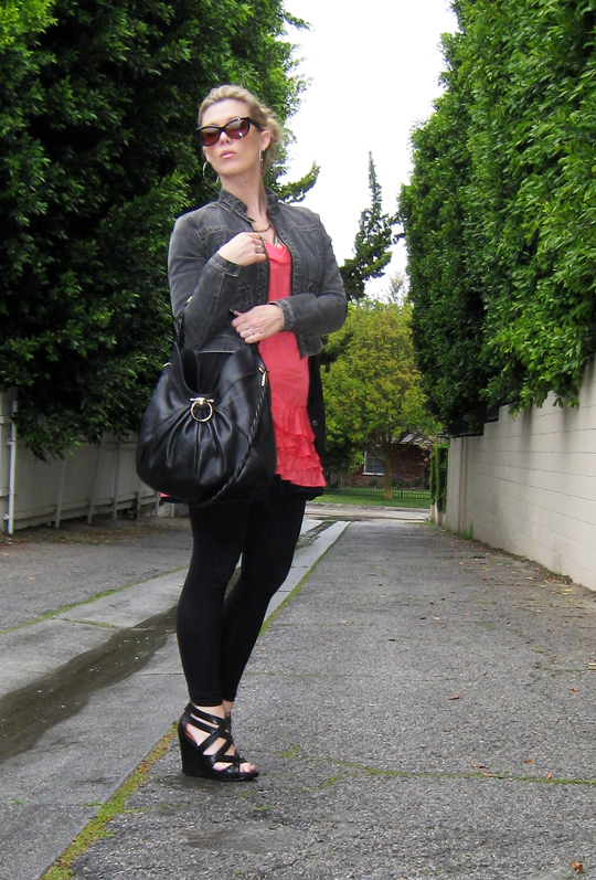 coral ruffle dress+1969 jacket+strappy wedges-4