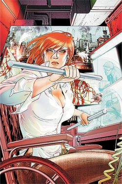 Oracle, a busty redhead, sits in her wheelchair at her desk, brandishing some dangerous-looking metal bars with a don't-mess-with-me expression on her face