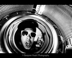 I Want You (Benjamin Haak | Photography) Tags: portrait bw white black nikon noir autoportrait machine nb fisheye benjamin washingmachine 8mm linge blanc washing lave lavelinge haak samyang d80 benjaminhaak