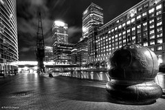 Canary Wharf standing from west india quay. (Patrick Mayon) Tags: england bw london night landscape timelapse lowlight cityscape meetup nb londres angleterre paysage canarywharf nuit hdr allnighter urbanlandscape dockland londonflickrmeetup photomatix tonemapped paysageurbain singlerawtonemapped upcoming:event=8040254 urbanlaandscape