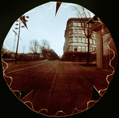 Milk or beer (batuda) Tags: pinhole obscura stenope analog analogue tin lid beerlid film orthochromatic paper 25 round circular d76 color colour toned wide wideangle town city cityscape street architecture building house deco artdeco interwar ground tree trees sky perspective neodymium laisvėsal milkcentre milk daukanto kaunas lithuania lietuva modernism modernist