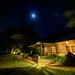 Full moon over Ol Tukai Lodge, Amboseli National Park, Kenya, East Africa