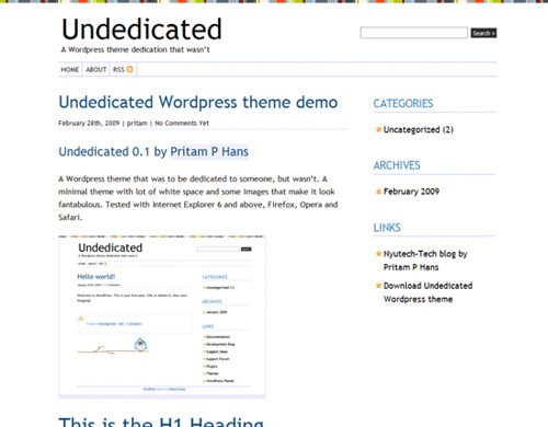 Undedicated-Wordpress-Typography-Theme-Demo