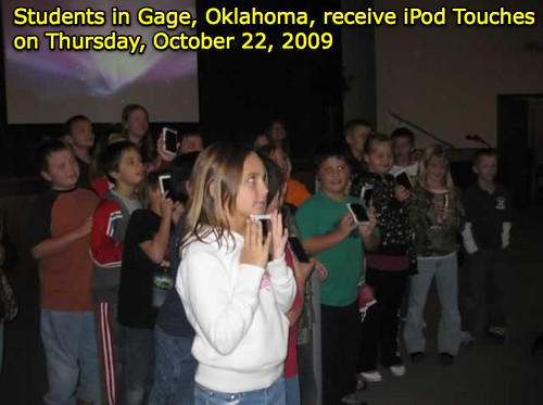Students in Gage, Oklahoma, receive iPod Touches on Thursday, October 22, 2009