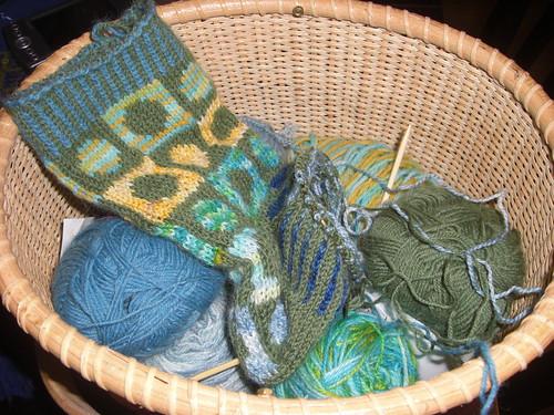 Scrappy Socks #1 in their basket of scraps