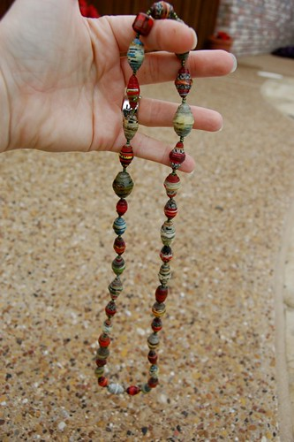 red and gray beads