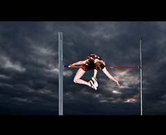Setting the Bar ((QP)ajq82) Tags: sky sports composite clouds contrast high jump bostonma trackandfeild ecac nikond300