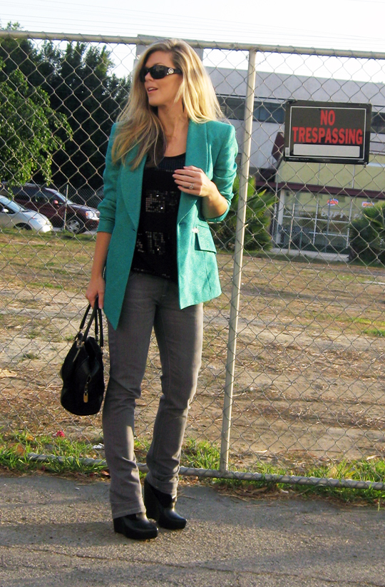gray-jeans-wedges-teal-blazer-2, fashion, outfit, vintage, chanel sunglasses, la style