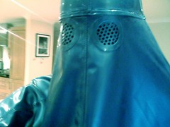 Staring into the distance (latexladyll) Tags: blue fetish veil rubber latex burqa
