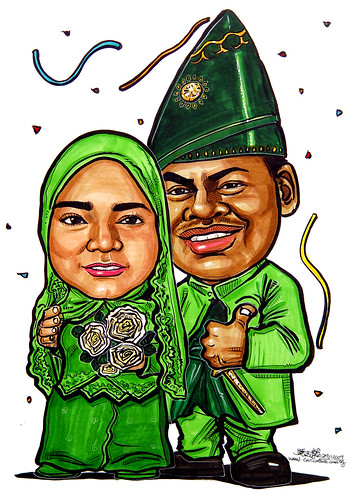 traditional Malay wedding caricatures 291109