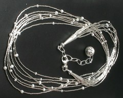 Silver and Pearls (Mary Gray Jewelry) Tags: ooak pearls sterlingsilver liquidsilver multiplestrands