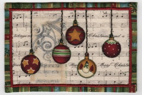 Christmas Fabric Postcard