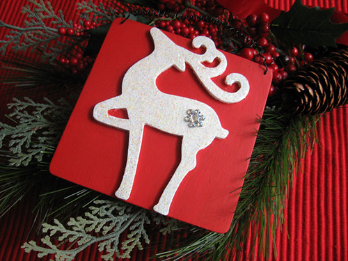 Red & White Glitter Reindeer Plaque