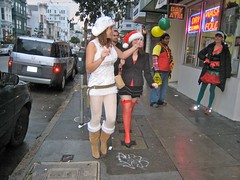 Fashion Walk Santas (Lynn Friedman) Tags: sf sanfrancisco california santa christmas ca xmas usa holiday costume santacon lowerhaight sfist santarcy 94117 haightst lynnfriedman sfsanta09