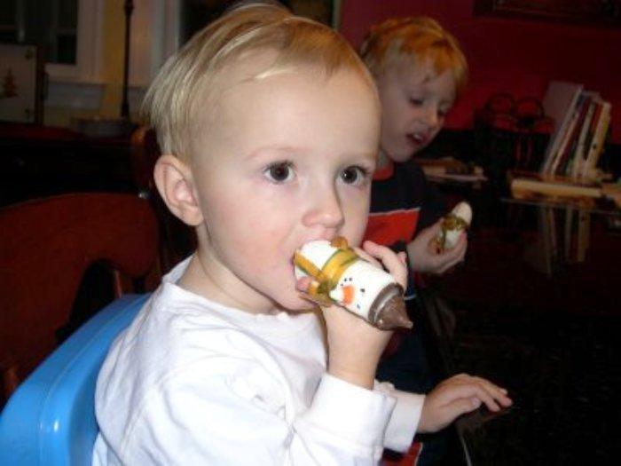Zeph eating snowman