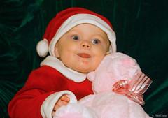 Beth 7 (Sam Lamp Photography) Tags: bear santa christmas pink blue red baby holiday eye hat smiling happy infant elizabeth beth