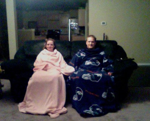 just another weekday night. in faux snuggies.