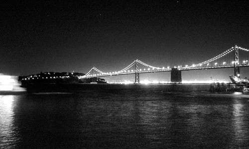 Bay Bridge Night BW
