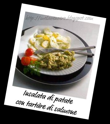 tartare di patate con filetto di salmone