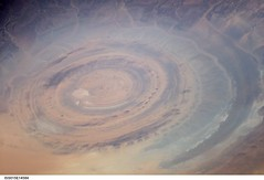 Richat Structure 'Bulls-eye' (NASA, International Space Station Science, 06/26/07) (NASA's Marshall Space Flight Center) Tags: africa nasa mauritania internationalspacestation richatstructure stationscience crewearthobservation gresdechinguettiplateau