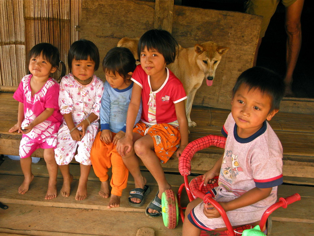A friendly bunch of Children of a jungle village in the North of Chiang Mai come out to see the trekkers