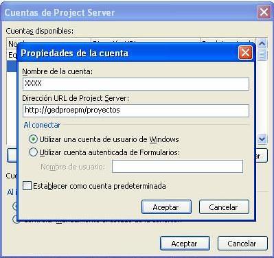 nueva cuenta en project server