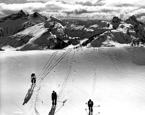 Skiers at Mount Rainier National Park, ca. 1935