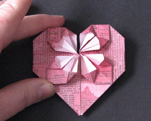 Ink Stains Fancy Origami Heart