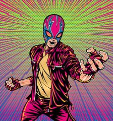 Punk Lucha Libre Wrestler Art (Mel Marcelo) Tags: vectorart mask popart comicbook luchalibre leatherjacket adobeillustrator spotcolors melito melmarcelo patradoon jesseechon punkwrestler