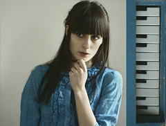 piano (Laura Gommans) Tags: blue portrait selfportrait girl self diptych dress piano toypiano lauragommans