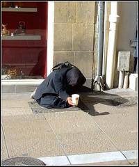 Beggar (Peter Curbishley) Tags: street france homeless poor montpellier beggar begging mendigo pedinte mcdo pauvre plasticcup mendicante bettler bedelaar mendiante mcdonaldscup   femalebeggar  empobrecer