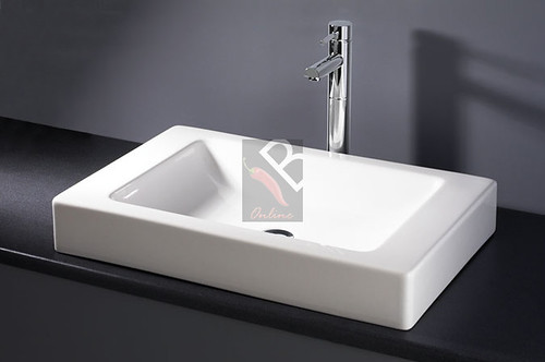 Modern Ceramic rectangular Drop-in or counter top (Deck Mount) basin from Chilli-B Home Solutions