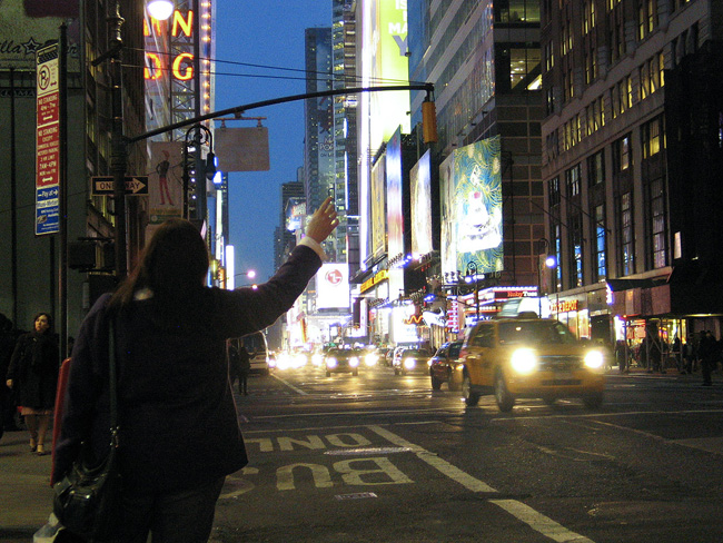 Hailing a cab, Times Square